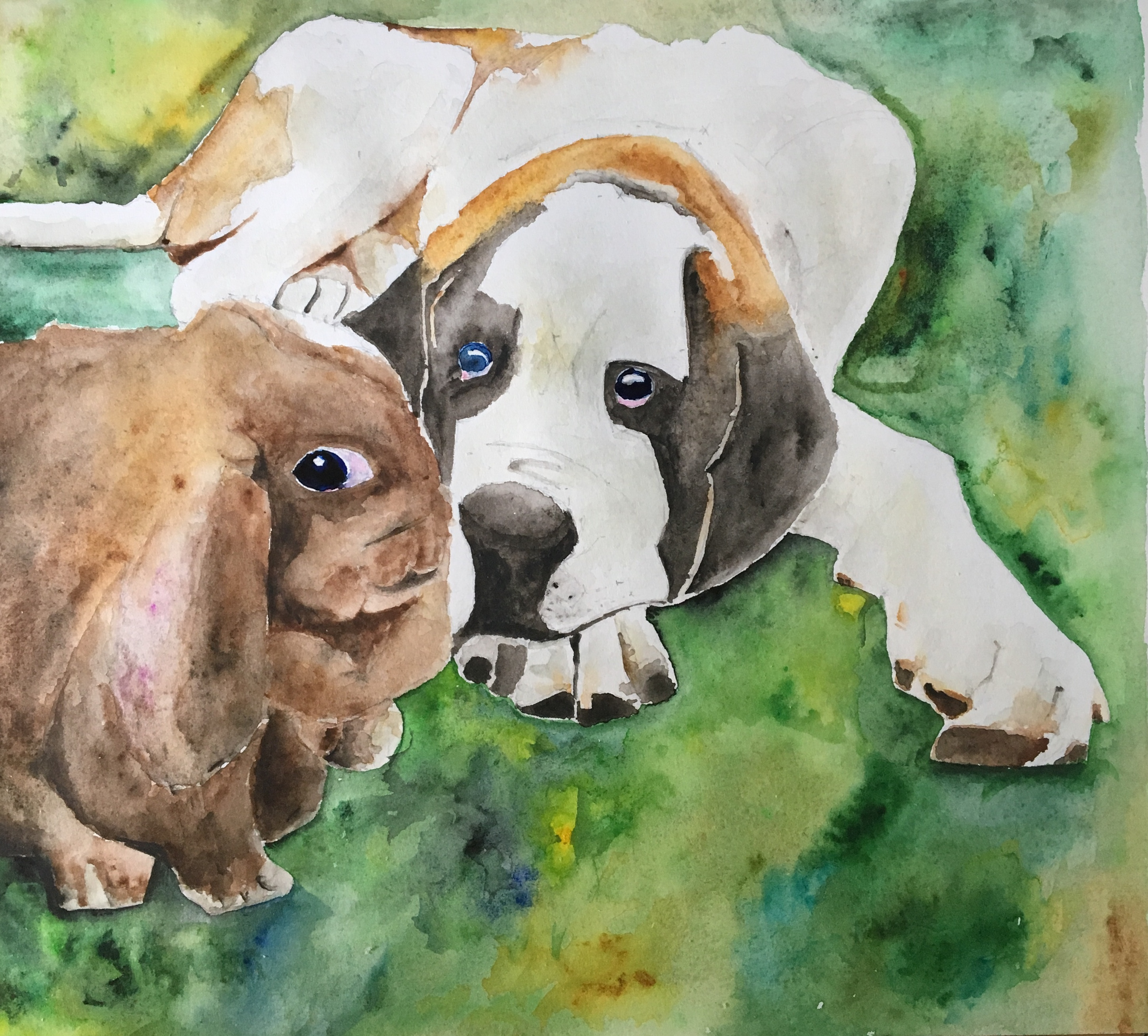 Painting of my dog and rabbit
